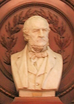 The bust of William Gladstone in the Victorian Library in Debenhams.
